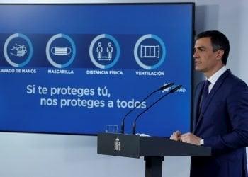 El presidente del Gobierno, Pedro Sánchez, en rueda de prensa tras la reunión del Consejo de Ministros, este martes en el Palacio de la Moncloa. Foto: EFE/ Zipi