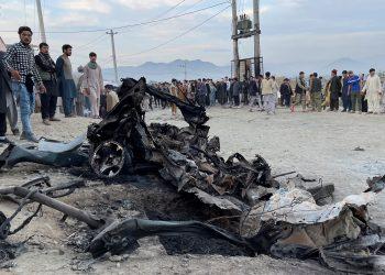 Coche bomba explotado en Kabul, la capital de Afganistán. Foto: Reuters.