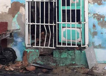 Frente de la vivienda donde ocurrió el accidente en Sancti Spíritus. Foto: escambray.cu