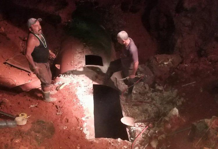 Trabajos de reparación en la fuente de abasto de agua de la capital cubana, Cuenca Sur. Foto: @PanequeGomez/Twitter.