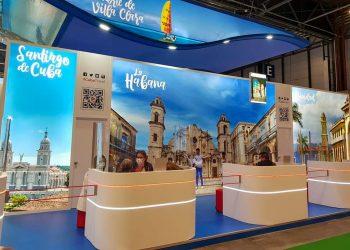 Pabellón cubano en la Feria Internacional de Turismo Fitur 2021, que se celebra en Madrid, España. Foto: @JuannCarlosGG / Twitter.