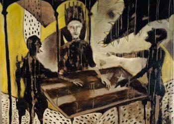 """""""El taller de reparación"""", de la serie Bestiario insular, 2021. Óleo y betún de Judea sobre lienzo; 150 x 130 cm. Hermes Entenza"""