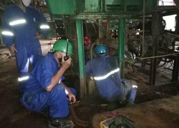 Las reparaciones en la termoeléctrica Antonio Guiteras, en Matanzas, concluyeron en la mañana de este sábado. Foto: Perfil de Twitter del Ministerio de Energía y Minas de Cuba.