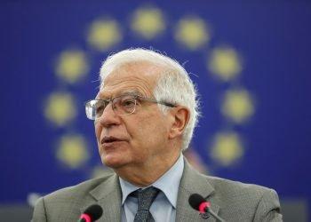 El alto representante de la Unión Europea para la Política Exterior, el español Josep Borrell, durante su intervención ante el Parlamento Europeo en Estrasburgo, Francia, el 8 de junio de 2021. Foto: Jean-Francois Badias / POOL / EFE.