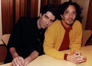 """Sabina y Páez durante las grabaciones del disco """"Enemigos íntimos"""", 1998, vía: Clarín."""
