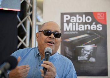 """El cantante y compositor cubano durante el lanzamiento de la Colección """"Pablo Milanés. Discografía"""", en 2017. Foto: milanespablo.com"""