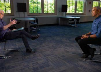 El expresidente Brack Obama entrevistado por Anderson Cooper. Foto: CNN.