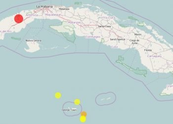 En rojo, localización del sismo ocurrido en la mañana del martes 29 de junio de 2021 en la provincia cubana de Artemisa. Imagen: reportó el Centro Nacional de Investigaciones Sismológicas de Cuba (Cenais).