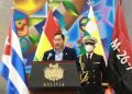 El presidente de Bolivia, Luis Arce, habla durante un acto en su país por el aniversario del asalto a los cuarteles Moncada y Carlos Manuel de Céspedes, en el oriente cubano en 1953. Foto: @LuchoXBolivia / Twitter.