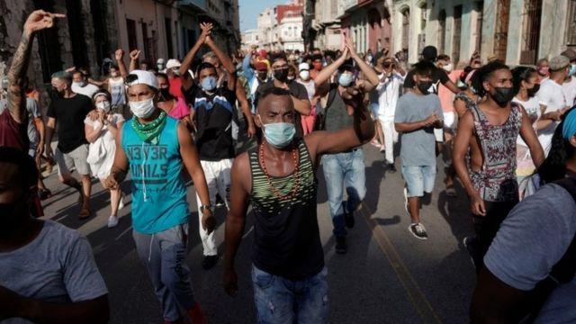 Las protestas en La Habana. Foto: BBC.