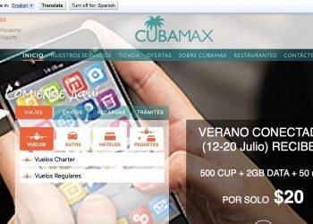 Imagen de la página web de la agencia de viajes Cubamax Travel, con sede en Miami.