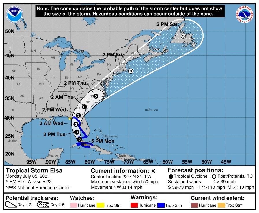 Cono de trayectoria pronosticado para la tormenta tropical Elsa por el Centro Nacional de Huracanes de EE.UU. Gráfico: nhc.noaa.gov