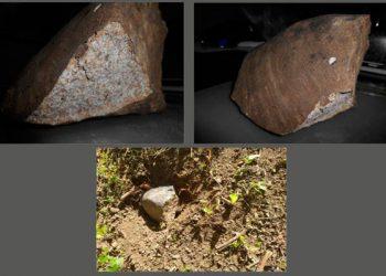Fotografías del presunto meteorito caído el 10 de julio de 2021 en las inmediaciones de la localidad Ramón de las Yaguas, en Santiago de Cuba. Foto: bohemia.cu