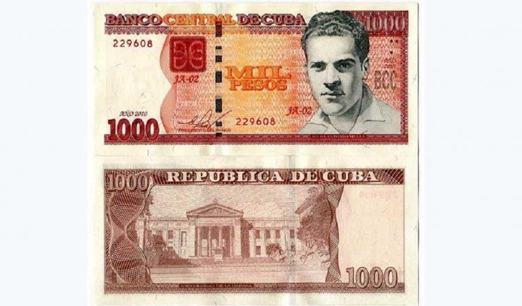 Un billete de mil pesos cubano (CUP). Foto: ACN.