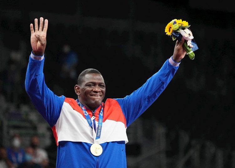 Mijaín López celebra su cuarto título olímpico consecutivo, Foto: EFE.