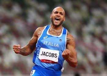 El italiano Lamont Marcell Jacobs celebra su victoria en 100 metros. Foto: Andrew Boyers/ Reuters.