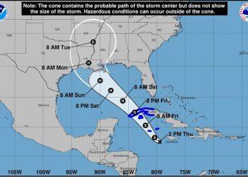 Cono de la posible trayectoria de la depresión tropical No.9 de la actual temporada ciclónica. Infografía: NOAA NWS National Hurricane Center / Facebook.