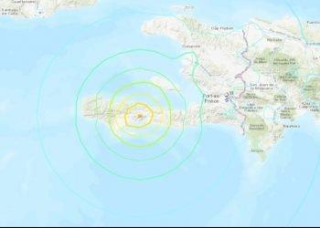 Mapa del Servicio Geológico de Estados Unidos que señala la posible ubicación del epicentro del sismo en Haití. Infografía: USGS via CNN.