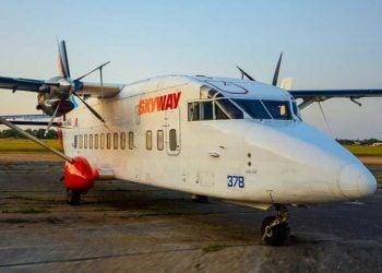 Avión bimotor de la aerolínea estadounidense Skyway. Foto: Skyway / Archivo.
