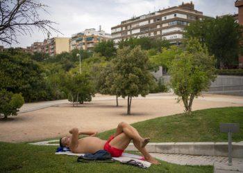 Un hombre en un parque durante la ola de calor en Madrid hoy sábado 14 de agosto de 2021. Foto: Andrea Comas/AP.