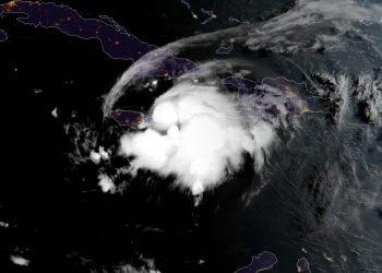 Imagen de satélite de la tormenta tropical Grace. Foto: NOAA NWS national Hurricane Center/Facebook.