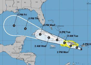 Cono de posible trayectoria de la tormenta Grace, debilitada a depresión tropical, en la tarde del 15 de agosto de 2021. Gráfico: National Hurricane Center.