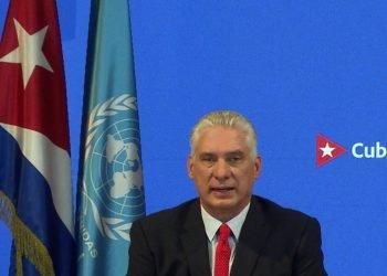 El presidente cubano Miguel Díaz-Canel en su intervención ante la Asamblea General de la ONU, el 23 de septiembre de 2021. Foto: Agencia Cubana de Noticias.