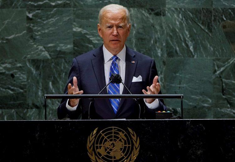El presidente de EE.UU., Joe Biden, durante su discurso ante la Asamblea General de la ONU, en la sede la organización en Nueva York, el 21 de septiembre de 2021. Foto: Eduardo Muñoz / Pool / EFE.