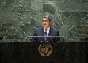 El presidente de Honduras, Juan Orlando Hernández, en la ONU. Foto: AP