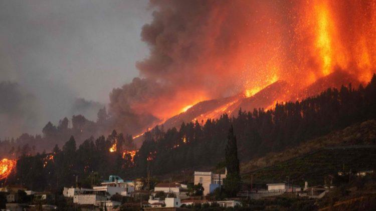 La erupción el volcán Cumbre Vieja, en Canarias. Foto: El Tiempo.