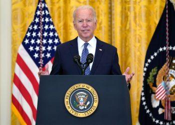 El presidente Joe Biden en la intervención en la Casa Blanca. | Foto: Evan Vucci / AP