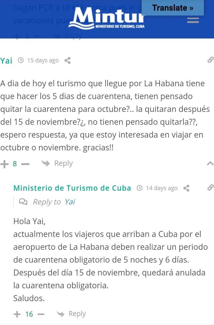 Captura de pantalla del sitio del Ministerio de Turismo de Cuba.