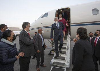 El presidente cubana a su llegada a México. Foto: Twitter de la presidencia de Cuba.