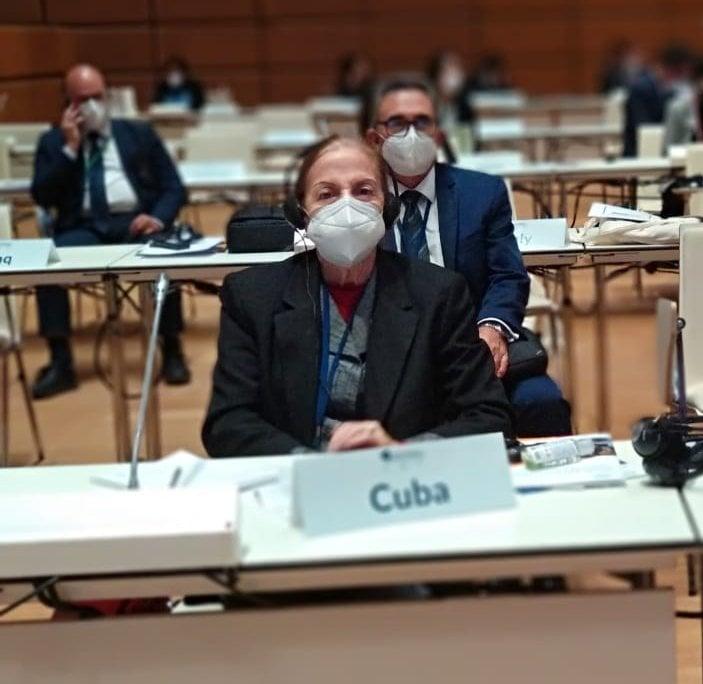 Yolanda Ferrer Gómez durante la 5ta conferencia de presidentes de parlamentos, en Viena. Foto: Perfil de la ANPP en Facebook.