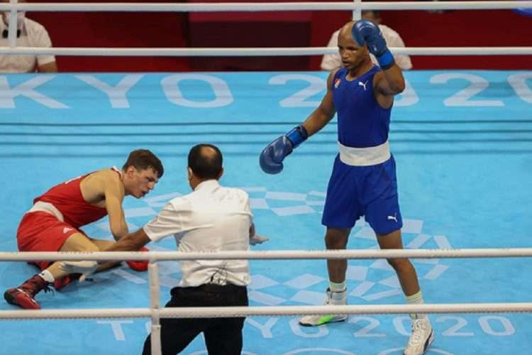 Roniel Iglesias durante los Juegos Olímpicos de Tokio 2020, en la capital de Japón. Foto: Roberto Morejón, periódico Jit, Inder.