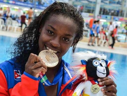 La clavadista Anisley García, quien obtuvo la medalla de Oro en plataforma de 10 metros en los XXIII Juegos Centroamericanos y del Caribe, Barranquilla, Colombia, julio de 2018.  Foto: Marcelino Vázquez Hernández/Acn.